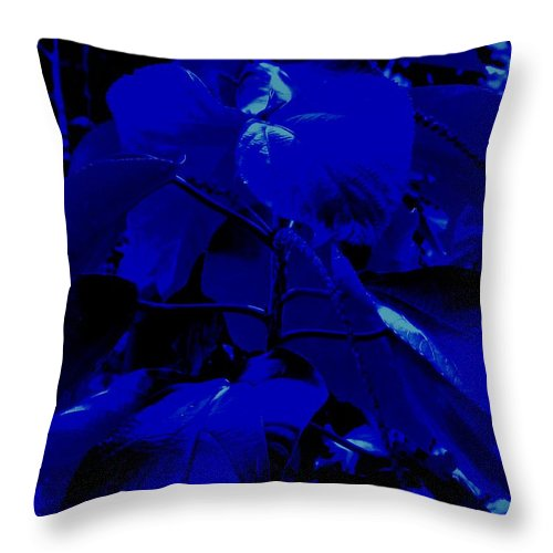 Leaves Throw Pillow featuring the photograph Dark Blue Leaves by Ian MacDonald