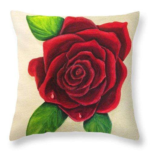 Dark Red Throw Pillows.Dark Red Rose Throw Pillow