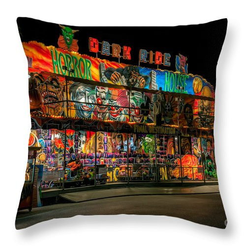 Hdr Throw Pillow featuring the photograph Dark Ride by Adrian Evans