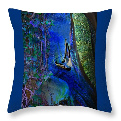 Dark River Throw Pillow featuring the digital art Dark River by Lisa Yount