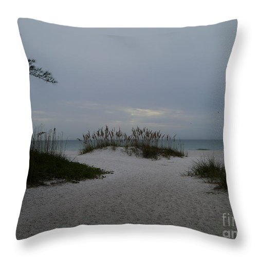 Beach Throw Pillow featuring the photograph Dark Skies Over The Beach by Christiane Schulze Art And Photography