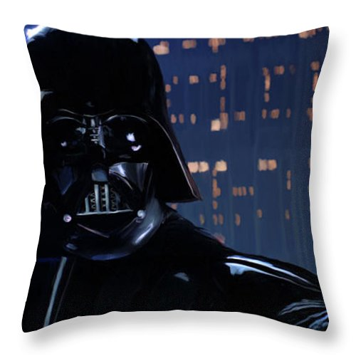 Empire Throw Pillow featuring the painting Darth Vader by Paul Tagliamonte