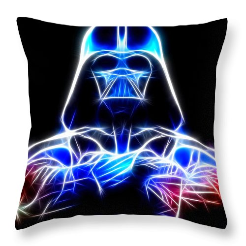 Darth Vader Throw Pillow featuring the mixed media Darth Vader - The Force Be With You by Pamela Johnson