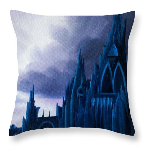 Castle Throw Pillow featuring the painting Dartonian Castle by James Christopher Hill