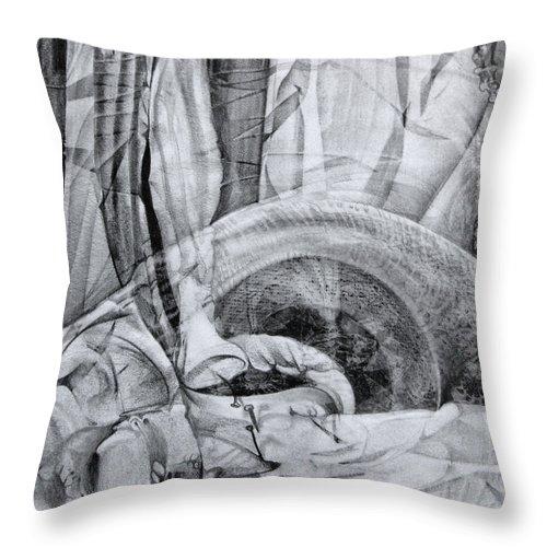 Surrealism Throw Pillow featuring the drawing Das Monster Hat Sich Im Ungebuegelten Hintergrund Versteckt by Otto Rapp