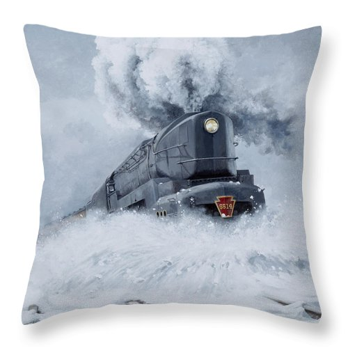 Trains Throw Pillow featuring the painting Dashing Through the Snow by David Mittner