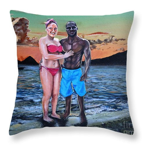 Dominica Throw Pillow featuring the painting Date Night In Heaven by Kelvin James