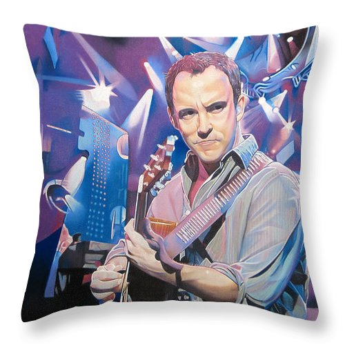 Dave Matthews Throw Pillow featuring the drawing Dave Matthews And 2007 Lights by Joshua Morton