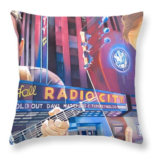 Dave Matthews Throw Pillow featuring the drawing Dave Matthews And Tim Reynolds Live At Radio City by Joshua Morton