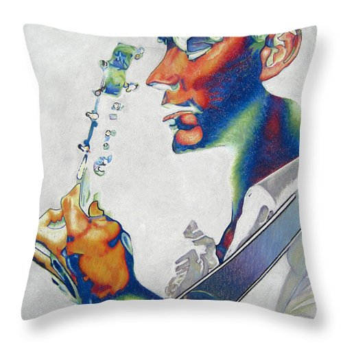 Dave Matthews Throw Pillow featuring the drawing Dave Matthews by Joshua Morton