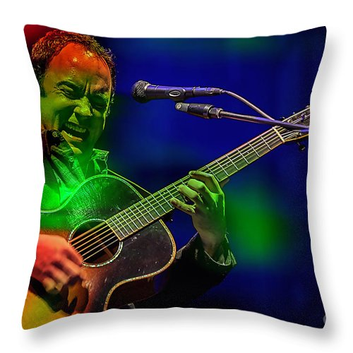 Dave Matthews Paintings Throw Pillow featuring the mixed media Dave Matthews by Marvin Blaine