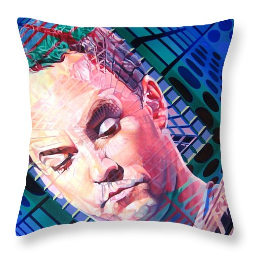 Dave Matthews Throw Pillow featuring the painting Dave Matthews Open Up My Head by Joshua Morton