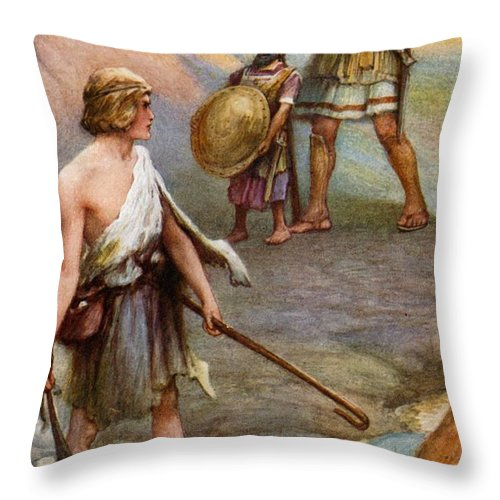 Bible Throw Pillow featuring the painting David And Goliath by Arthur A Dixon