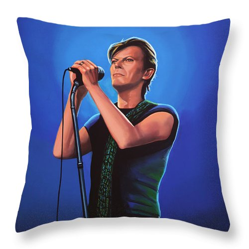 David Bowie Throw Pillow featuring the painting David Bowie 2 Painting by Paul Meijering
