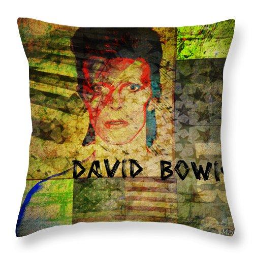 David Bowie Throw Pillow featuring the digital art David Bowie by Absinthe Art By Michelle LeAnn Scott