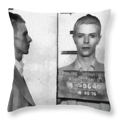 David Bowie Mug Shot Throw Pillow featuring the photograph David Bowie Mug Shot by Dan Sproul