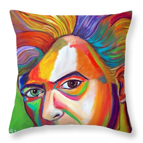 David Bowie Throw Pillow featuring the painting David Bowie by To-Tam Gerwe