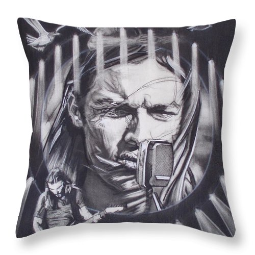 Charcoal On Paper Throw Pillow featuring the drawing David Gilmour Of Pink Floyd - Echoes by Sean Connolly
