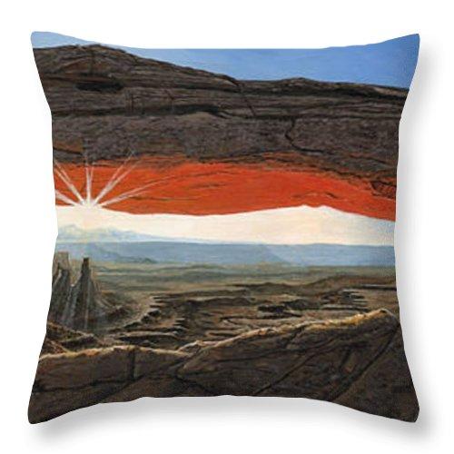 Mesa Arch Throw Pillow featuring the painting Dawn At Mesa Arch Canyonlands Utah by Richard Harpum