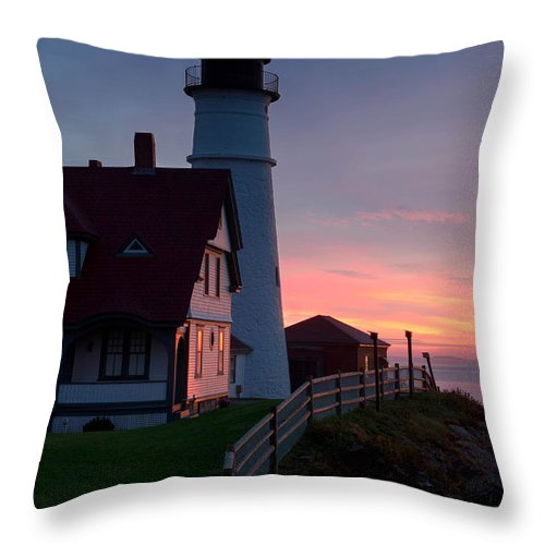 Sunrise Throw Pillow featuring the photograph Dawn At Portland Lighthouse by Jerry Fornarotto