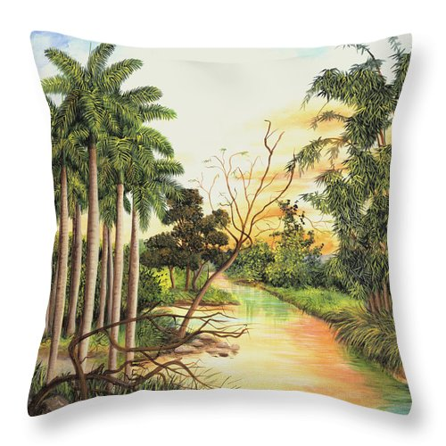 Wood Throw Pillow featuring the painting Dawn by Dominica Alcantara