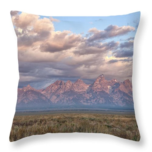 Grand Teton Throw Pillow featuring the photograph Dawn In The Grand Tetons by Sandra Bronstein
