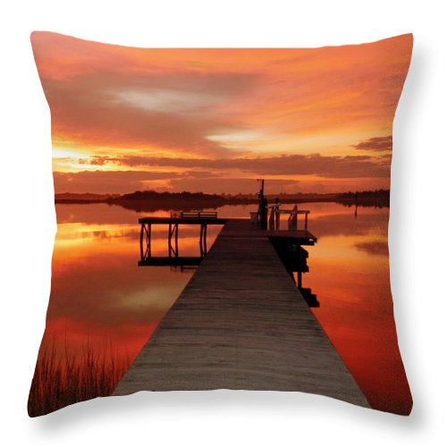 Orange Waterscapes Throw Pillow featuring the photograph Dawn Of New Year by Karen Wiles