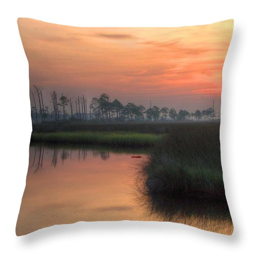 Palm Throw Pillow featuring the digital art Dawn On The Bayou by Michael Thomas