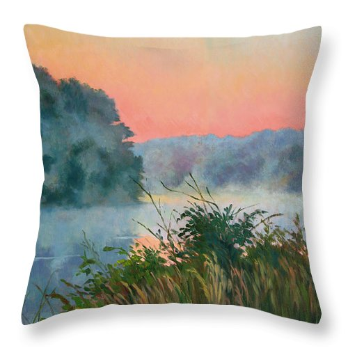 Impressionism Throw Pillow featuring the painting Dawn Reflection by Keith Burgess