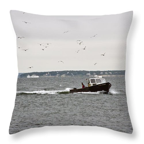 Boat Throw Pillow featuring the photograph Day Is Done by Dennis Coates