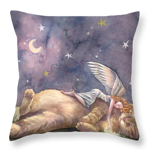 Cat Throw Pillow featuring the painting Day Of Joy by Sara Burrier