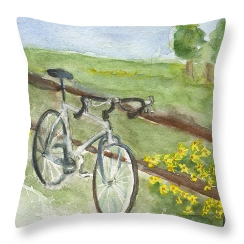 Bike Throw Pillow featuring the painting Day Trip by Bev Veals
