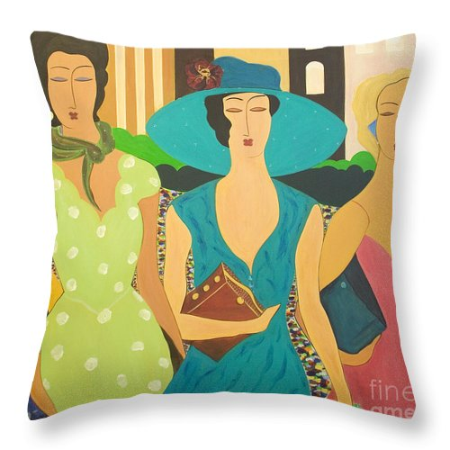 #fashion Throw Pillow featuring the painting Daybreak by Jacquelinemari