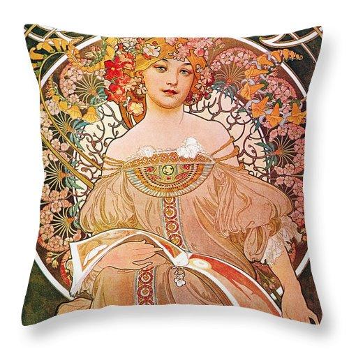 Alphonse Mucha Throw Pillow featuring the painting Daydream by Alphonse Mucha