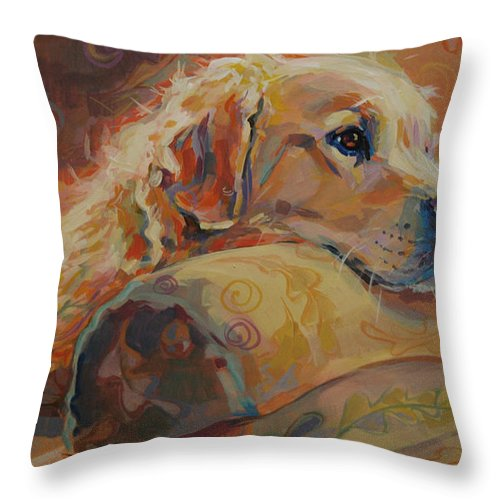 Golden Retriever Throw Pillow featuring the painting Daydream by Kimberly Santini