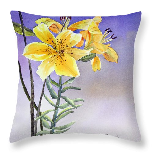 Lily Throw Pillow featuring the painting Daylilies by Patricia Novack