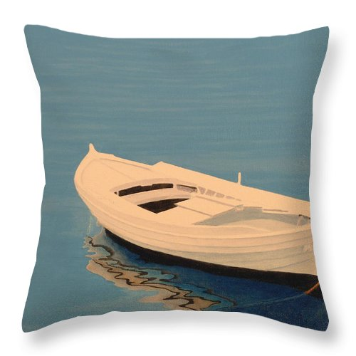 Rowboat Throw Pillow featuring the painting Day's End by Norm Holmberg