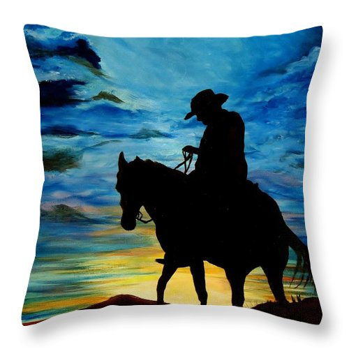 Western Art Throw Pillow featuring the painting Days End by Stefon Marc Brown