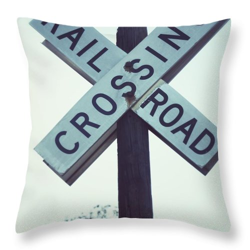 Railroad Passing Sign Throw Pillow featuring the photograph Days Gone By by The Art With A Heart By Charlotte Phillips
