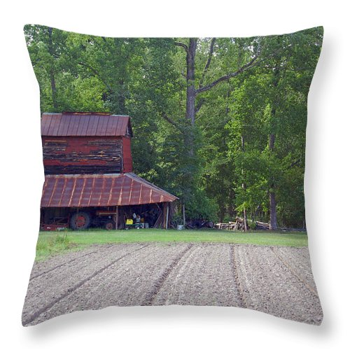 Tobacco Barn Throw Pillow featuring the photograph Days Gone By--tobacco Barn Series by Suzanne Gaff