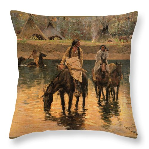 Days Of Long Ago Detail Throw Pillow featuring the digital art Days Of Long Ago Detail by Henry Farny