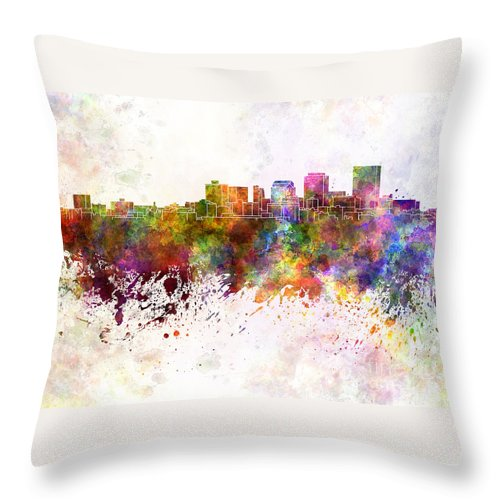 Dayton Skyline Throw Pillow featuring the painting Dayton Skyline In Watercolor Background by Pablo Romero