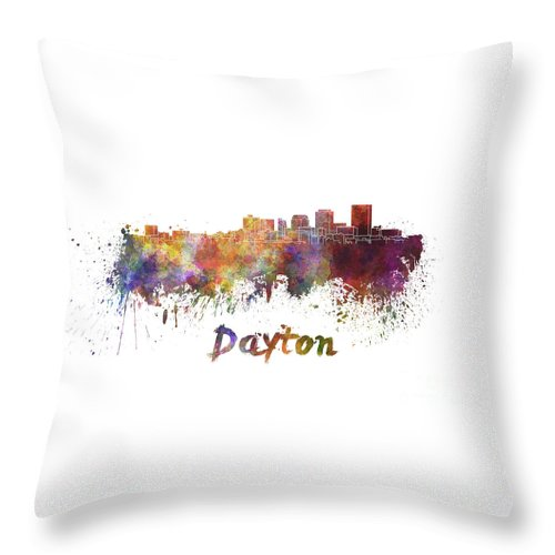 Dayton Throw Pillow featuring the painting Dayton Skyline In Watercolor by Pablo Romero