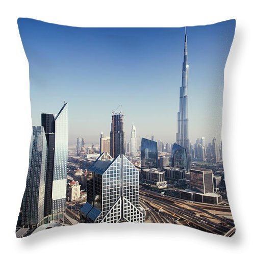 Downtown District Throw Pillow featuring the photograph Dbuai Sky Line With Traffic Junction by Tempura