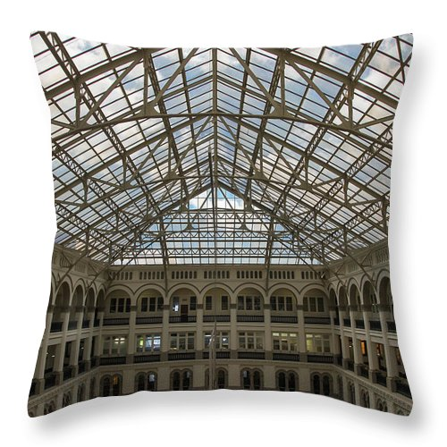 Washington Throw Pillow featuring the photograph Dc Post Office by Raymond Poynor