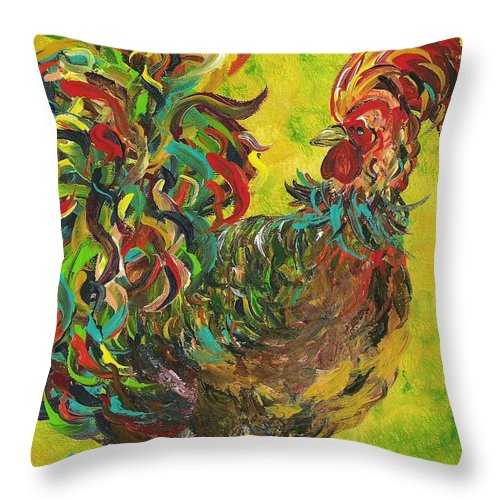 Rooster Throw Pillow featuring the painting De Colores Rooster #2 by Eloise Schneider Mote