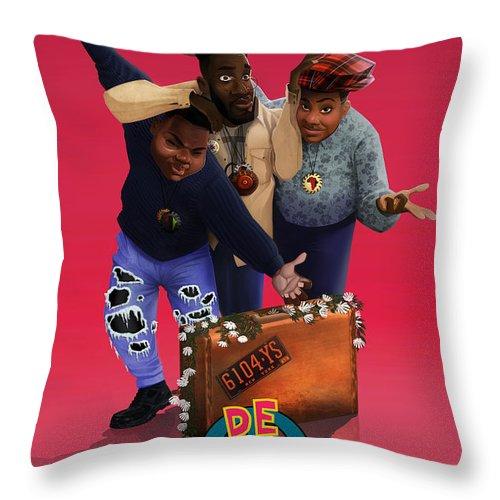 De La Soul Throw Pillow featuring the drawing De La Soul by Nelson Dedos Garcia
