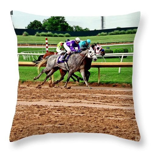 Horse Racing Throw Pillow featuring the photograph Dead Heat 023mx by Earl Johnson