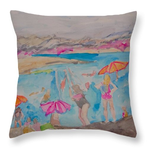 Landscape Throw Pillow featuring the painting Dead Sea Bathers by Esther Newman-Cohen