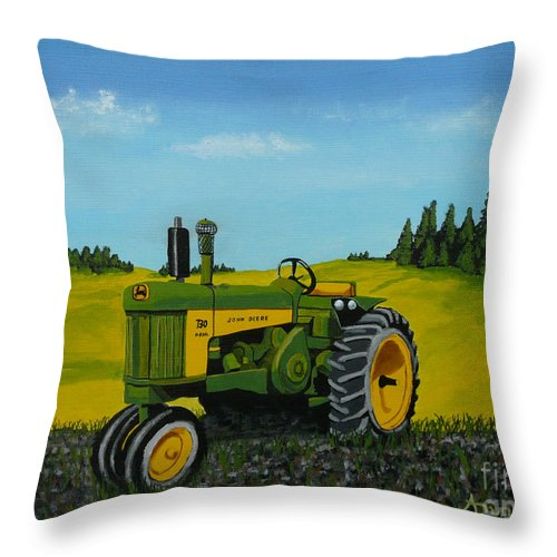 John Deere Throw Pillow featuring the painting Dear John by Anthony Dunphy